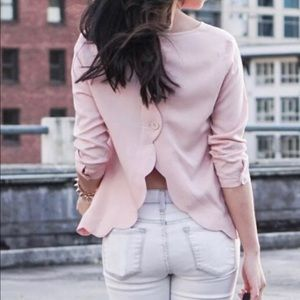 Urban outfitters blouse open back scallop pink top